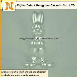 Animal Shaped Ceramic Craft, Plating Sliver Ceramic Rabbit for Easter Decoration pictures & photos