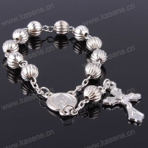 Fast Delivery Hn15D110 Catholic Gray Plastic Rosary Bracelet pictures & photos