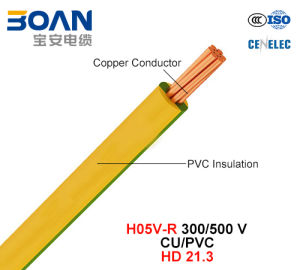 H05V-R, Electric Wire, 300/500 V, Cu/PVC Insulated Cable (HD 21.3) pictures & photos