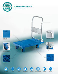 150kg Blue Noiseless Platform Hand Truck Folding Plastic Trolley pictures & photos