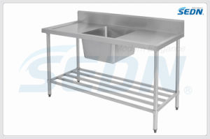 Handmade Commercial Stainless Steel Single Bowl Splashback Sink Benches (MF1003) pictures & photos