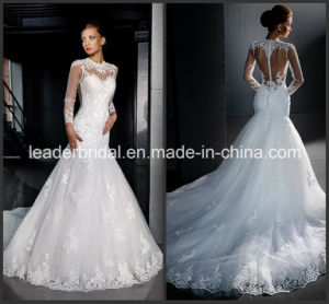 Long Sleeves Wedding Gown Collar Lace Mermaid Bridal Wedding Dress L15311 pictures & photos