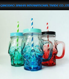 Fun Skull Halloween Glass Drinking Mason Jar with Handle pictures & photos