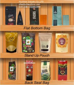 Standing Side Gusset PE Lined Kraft Paper Packaging Quad Seal Flat Block Bottom Coffee Bags with Valve pictures & photos