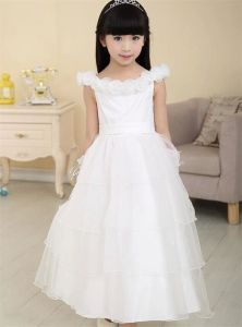 Princess Party Dress, Flower Girl′s White Wedding Dress pictures & photos