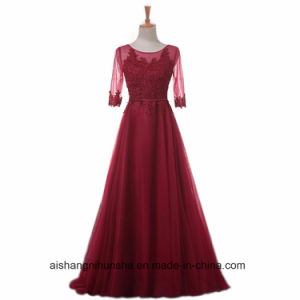 Women A-Line Lace Evening Party Prom Dress with Half Sleeve pictures & photos