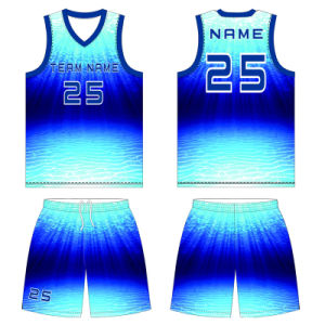 Blue Basketball T Shirt Jersey Uniform with Custom Printing pictures & photos