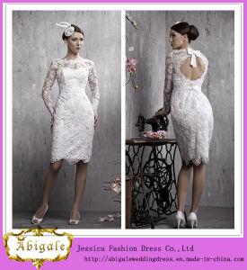 2014 New Designer Unique White Elegant Sheath Jewel Long Sleeves Knee Length Lace Open Back Sexy Short Wedding Dresses (MN1328)