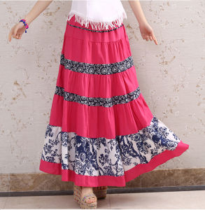 Cotton Striped Pleated Elastic Waist Long Skirt of Ethnic Styel pictures & photos