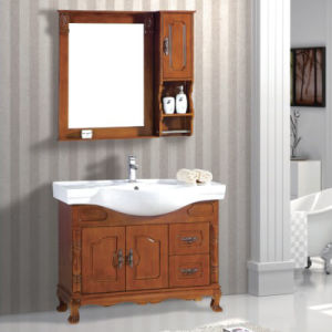 Solid Oak Bathroom Vanity with Mirror pictures & photos