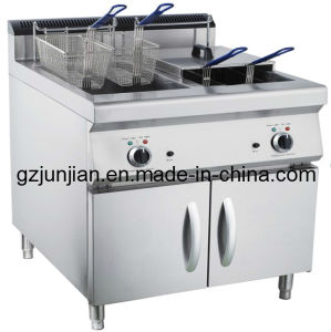 Commercial Satainless Steel Electric Deep Fryer with Cabinet (2-Tank, 4-Basket) pictures & photos