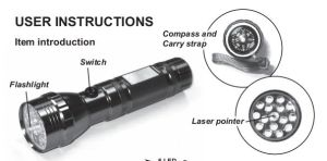 15LED Aluminium Laser Flashlight with Compass (CWL-6068) pictures & photos