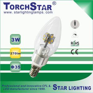 Pure White Aluminum 3W E14 LED Candle Bulb with Transparent Cover