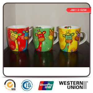 Giraffe Printing Porcelain Mug in Drum Shape pictures & photos