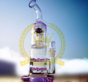 Triple Honeycomb Perc Stemless Water Pipe Wholesale Glasspipe Recycler Smoking Water Pipe pictures & photos