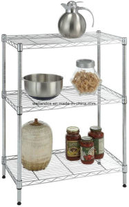 Multi-Purpose Chrome Metal Kitchen Microwave Oven Wire Rack on Table pictures & photos