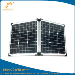 Flexible 2*40W Portable Folding Panels Solar Kit with All Components for Camping (SGM-F-80W)