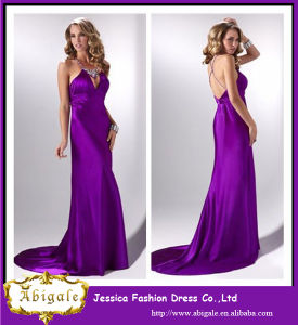 Charming Purple Taffeta Beaded Halter Cheap Elegant Evening Dresses for Pregnant Women pictures & photos