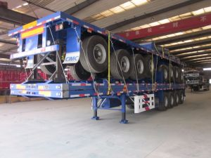 4 Axles Flat Bed Container Trailer pictures & photos