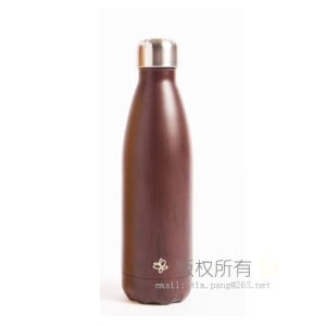 Wooded Style Coating Metal Travel Flask pictures & photos