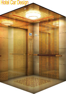 Hotel Elevator with Golden Mirror Steel pictures & photos