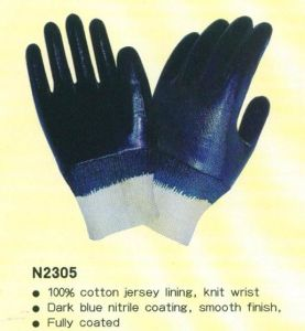 CE Nitrile Working Gloves with Knitting Wrist pictures & photos