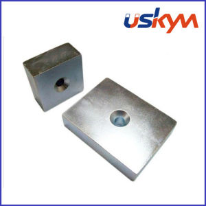 Nickel Block Neodymium Magnets with Hole (F-009) pictures & photos