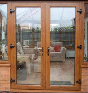 High Quality Woodgrain PVC French Door (BHP-CD05) pictures & photos