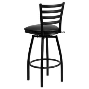 Metal Ladder Back Barstool with Vinyl Swivel Seat pictures & photos