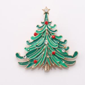 Christmas Tree Crystal Brooches Pins New Fashion Green Glazed Bouquet Jewelry Tree Style Charm Brooch Christmas Gifts pictures & photos