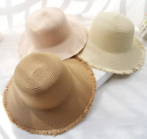 Summer Outdoor Sunshade Sunscreen Leisure Straw Wide Brim Beach Lady′s Hat pictures & photos