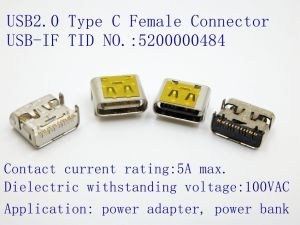 USB 2.0 Type C Receptacle, Right Angle SMT Type for Automotive Products. Volkswagen Approved. pictures & photos