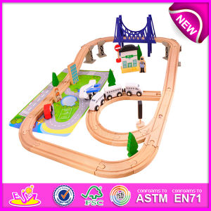 Hot New Product for 2015 Kids Toy Wooden Train Railway Set Toy, Wooden Toy Children Toy Railway Set Toy (WITH 70PCS) W04c019 pictures & photos