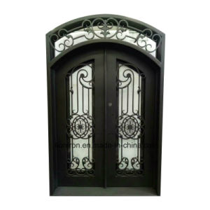 Custom Exterior Wrought Iron Entry Door with Transom pictures & photos