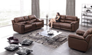 Brown Color L Shape Leather Recliner Sofas Sets pictures & photos