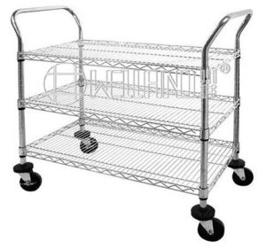 Mobile Chrome Wire Panel Storage Shelving Trolley pictures & photos