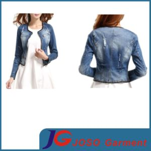 Faded Chest Pocket Destroy Wash Short Lady Denim Jacket (JC4081) pictures & photos