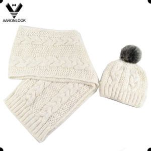 Fasihon Warm 2PC Set Light Colorful Thin Yarn Cable Knit Scarf Hat pictures & photos