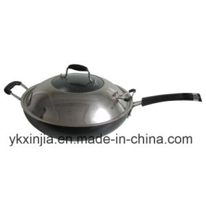 Cookware Aluminum Non-Stick Wok Kitchenware with Stainless Steel Cover pictures & photos
