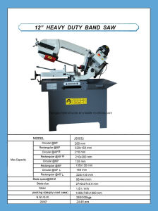 12′′ Heavy Duty Metal Band Saw Js5032 pictures & photos