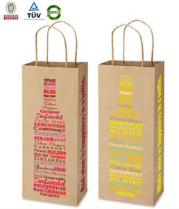 Single Kraft Paper Printing Drink Carrying Bags pictures & photos