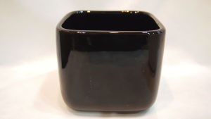 2 Sizes Black Square Ceramic Flower Pot (13-0109)