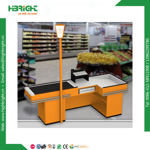 Supermarket Electric Checkout Counter with Conveyor Belt pictures & photos