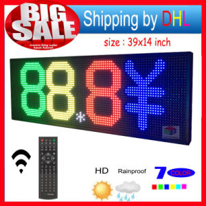 "LED Sign RGB 39""X14"" Remote Control Programmable Scrolling Outdoor Message LED Display Open 7 Color Message Board"