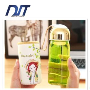 Clear Glass Bottle with Handle Lid, BPA Free Water Bottle pictures & photos