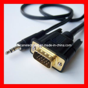 VGA to 3.5mm Audio Cable, VGA Cable to 6.35mm Cable pictures & photos