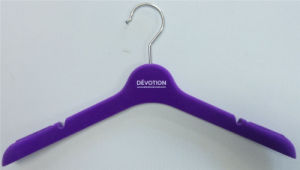 Custom Logo Purple Flocking Lifestyle Clothing Hanger for Display pictures & photos