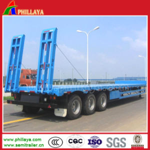 3 Axle 50-60ton Truck Gooseneck Lowboy Low Flatbed Semi Trailers pictures & photos