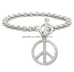 Alloy Silver Plated Peace Charm Bracelet (ALBA-1107)