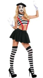 Hot Mime Sexy Halloween and Cirsus Costume